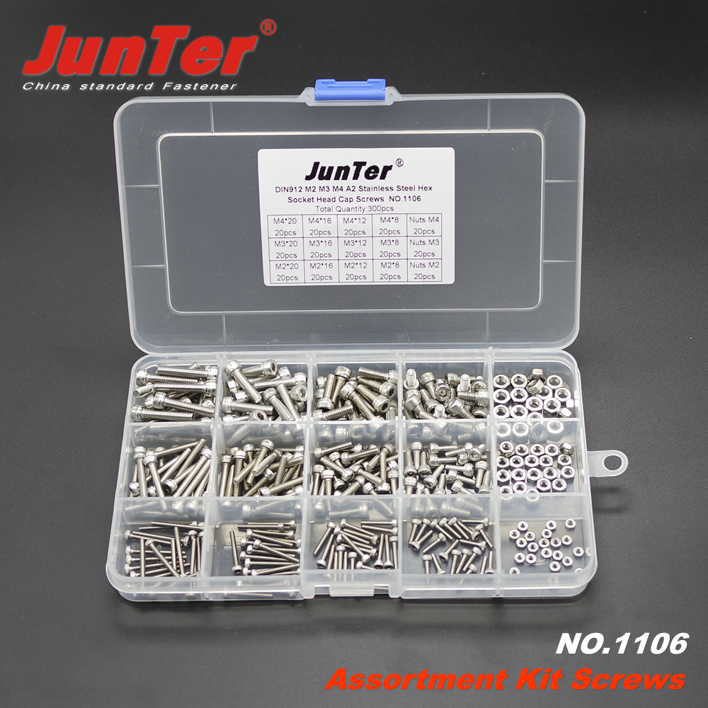 300pcs M2 M3 M4 A2 Stainless Steel DIN912 Allen Bolts Hex Socket Head Cap Screws With Nuts Assortment Kit NO.1106 воблер rapala bx minnow bxm hh плавающий 0 6м 1 2м 7см 7гр