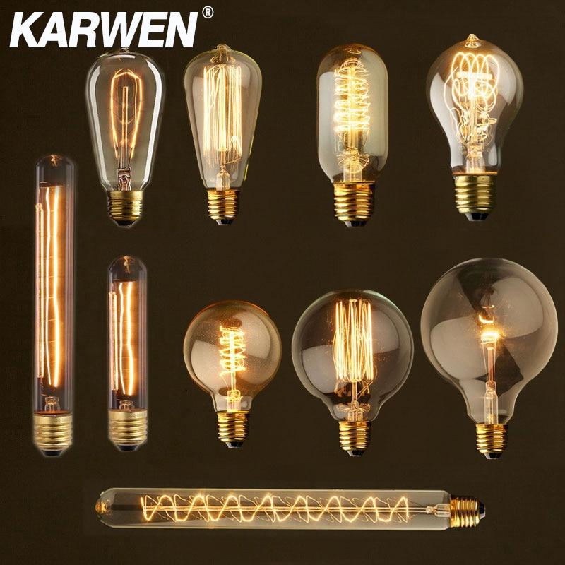 Лампа накаливания Эдисона E27, 220 В, 40 Вт, ST64 G80 G95 T10 T45 A19