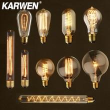 Ampoule rétro Edison, Vintage, lumière incandescente, lampe à filaments pour la décoration edison, type E27, ST64, G80, G95, T10, T45, A19