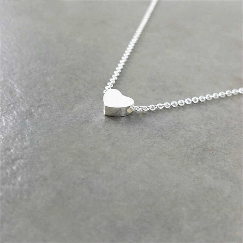 Minimalisme coeur colliers et pendentifs en acier inoxydable chokers colliers pour femmes enfants soeur bijoux bff meilleurs amis cadeaux