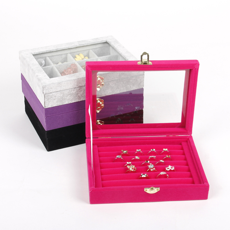 Tonvic Gray Black Pink Purple Velvet Jewelry Case Storage