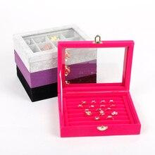 Купить с кэшбэком Wholesale Gray/Black/Pink Velvet Jewelry Case Storage Box With Glass Lid For Earring Ring Pendant 2015 New Arrival