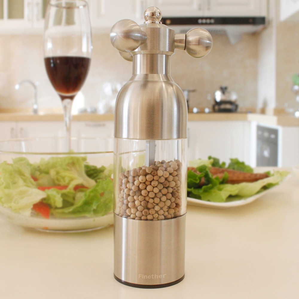 Finether Salt Pepper Mill Stainless Steel Salt Pepper Mill Grinder Seasoning Adjustable 7.1'' Acrylic Kitchen Accessories Tool