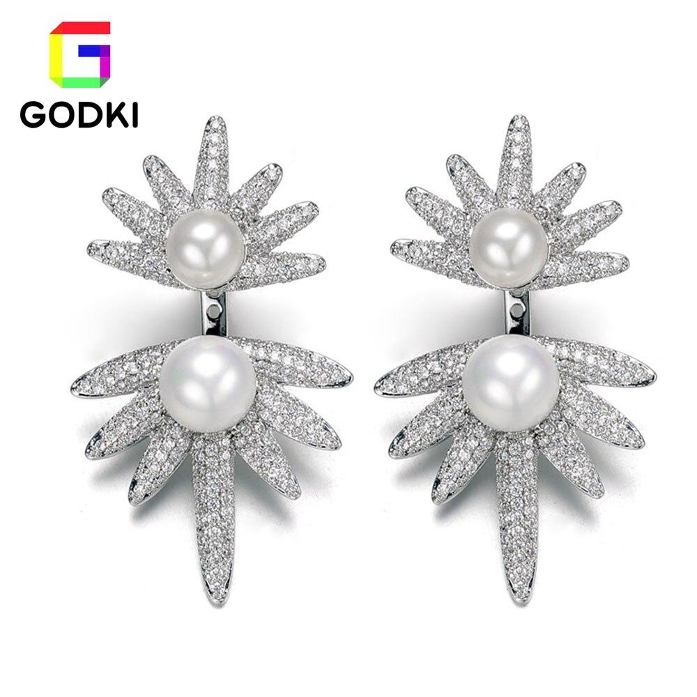 GODKI Flower Imitation Pearl Leaf Snow Flake Cubic Zirconia Women Party Engagement Silver Long Tassel Earring