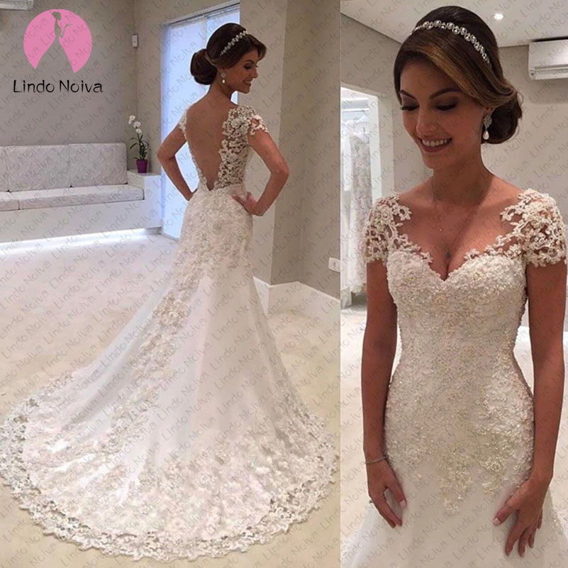 Vestido De Noiva Sereia Stunning Beautiful Cap Sleeve Lace Appliques Sexy Wedding Dress Bridal Gown Custom