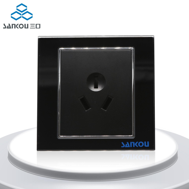 Gratis Pengiriman Hitam CN Standar Dinding Daya Plug Socket 16A 3Pin Panel Socket Hitam Kristal Kaca Fashional 50 HZ 60 HZ