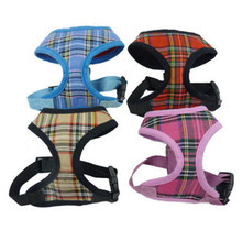 Top Selling Soft Mesh Harness Collars Dog Puppy Cat Plaid Tartan Checkered Dogs Pets Adjustable Harnesses
