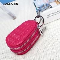 Women Genuine Leather Men Car Key Holder Crocodile Pattern Key Wallet Double Zipper Multifunctional Women Housekeeper Case
