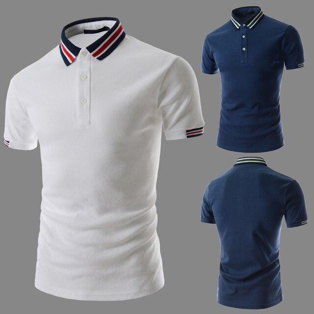 Camisas de Polo Para Los Hombres 2016 de Moda de Verano Casual Tops y Camisetas de Manga Corta Slim Fit Transpirable Ropa de Marca de Alta Calidad camiseta