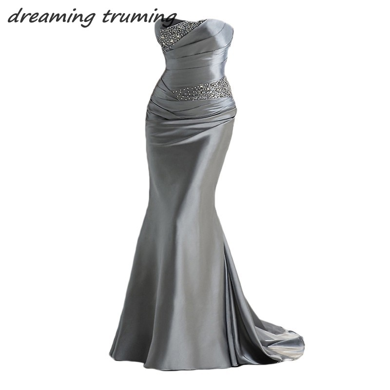 2018 Elegant Mermaid Evening Dresses Party Gowns Beading Cheap Long Women Lady Special Occasion Formal Prom Dresses Under 100
