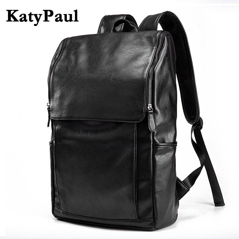 Backpacks Katypaul 2018 Large Capacity Fashion Leather Mens Travel Rucksacks Solid Man Business Laptop Backpack Leather Backpack Mochila Luggage & Bags