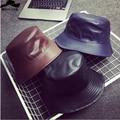 2016 Pu de cuero Bob Cubo Sombreros Para Hombres Mujeres Pescador Casquillo de la Pesca sombrero Al Aire Libre Chapeau Cappello Pescatore Homme Sólido Sol cap