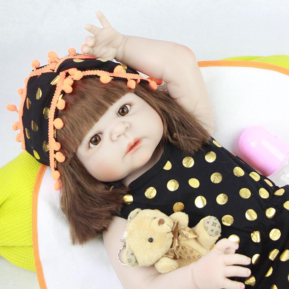So Lovely Reborn Baby Doll Waterproof 23 Full Vinyl Body Realistic Lifelike Newborn Babies wear Black Clothes Ethnic Doll