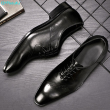 Fashion Italian Mens Shoes Genuine Leather Luxury Carved Lace Up Oxford Male Shoes For Men Business Office Dress Shoes