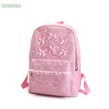 MIWIND 2017 Women Lace Bow tie Backpacks Canvas Shoulder School Bag For Girl Ladies Teenagers Travel Bags XM044