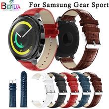 купить 20mm Genuine Leather For Samsung Gear Sport watchband Replacement Wristband Strap band For Samsung S2 gear bracelet Accessories по цене 419.44 рублей