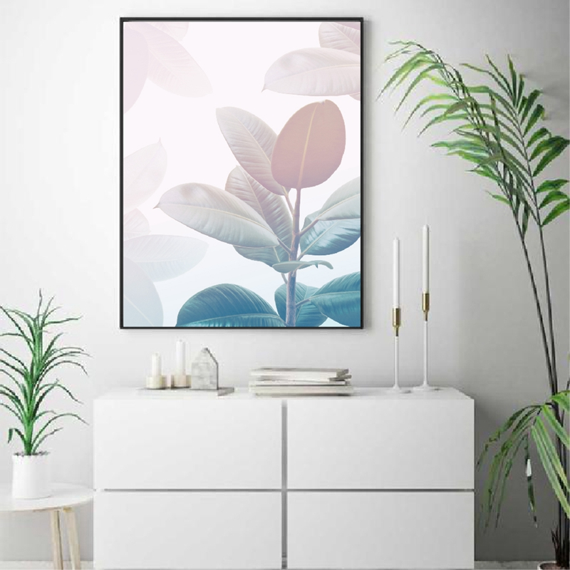 Leaves print living room decor