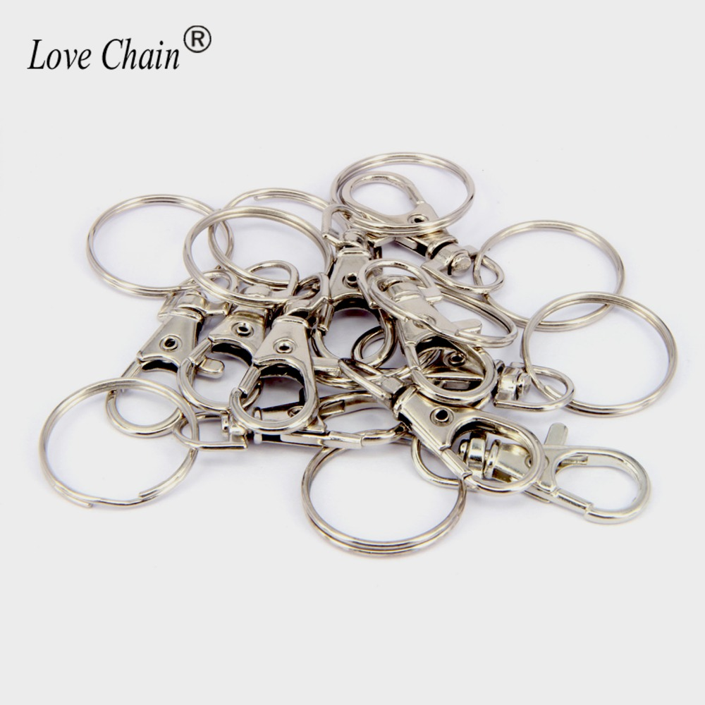 10Pc Bronze Round Circle CARABINER Lobster Clasp Claw Hook Key Ring Find DIY NEW