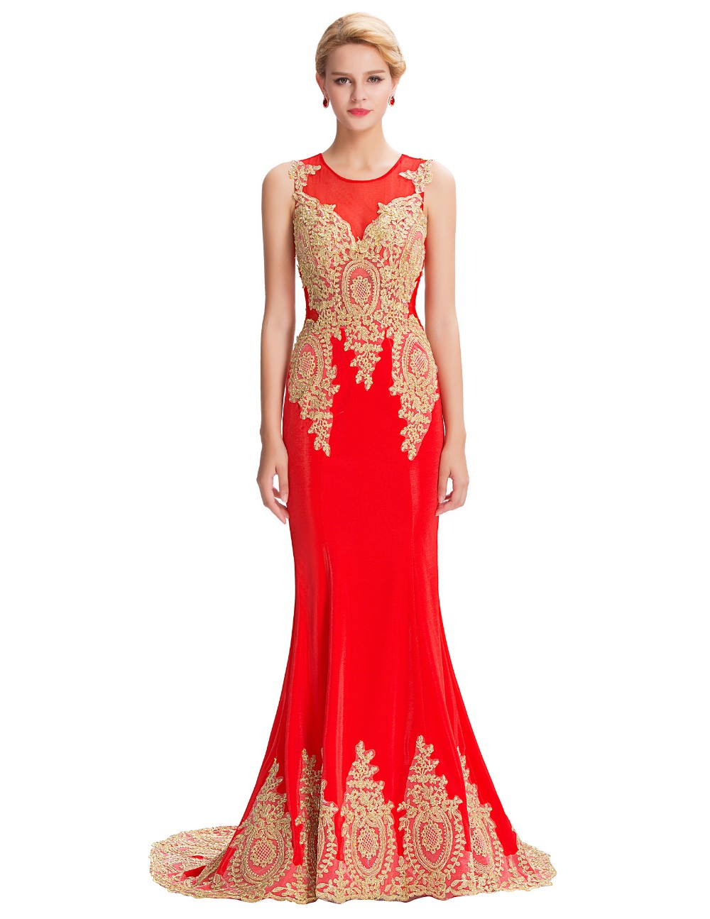 6b3aa6e51d111 Long Mermaid Evening Dress Grace Karin White Black Blue Red Gold Appliques  Floor Length Women Formal Gowns Elegant Party Dresses-in Evening Dresses ...