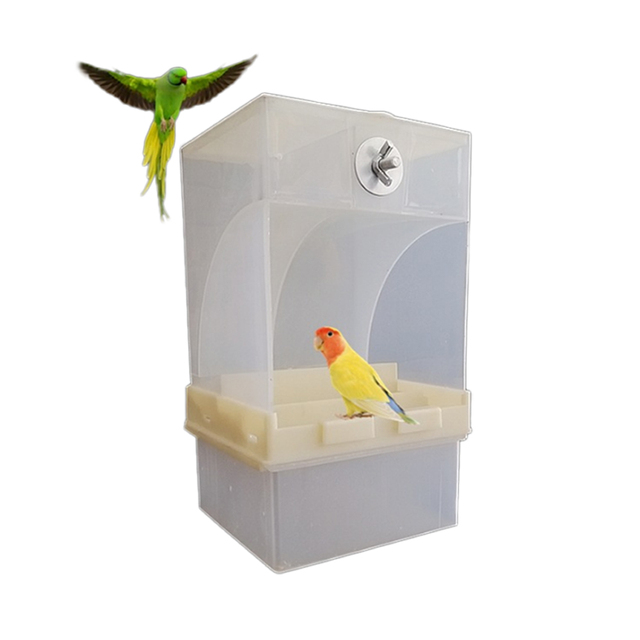 Pet Birds Parrot Cage Feeder Automatic Seed Feeder Box 440ml/850ml Capacity