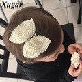 2 unids boutique hair bows para chicas dulce blanco perla rhinestone accesorios hairbows con pinza de pelo de la perla preciosa