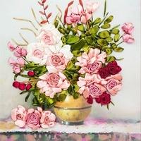 65 × 50センチピンクバラ花diy 3dクロスステッチキット針仕事未完成のリボン刺繍絵画ステッチクラフトギフ