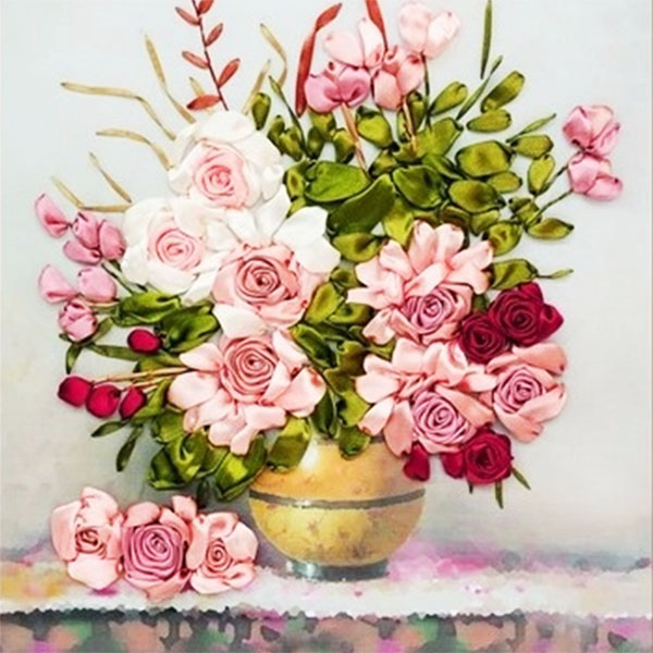 65X50cm Pink roses flowers DIY 3d cross stitch kit needlework Unfinished Ribbon embroidery painting stitching craft gift