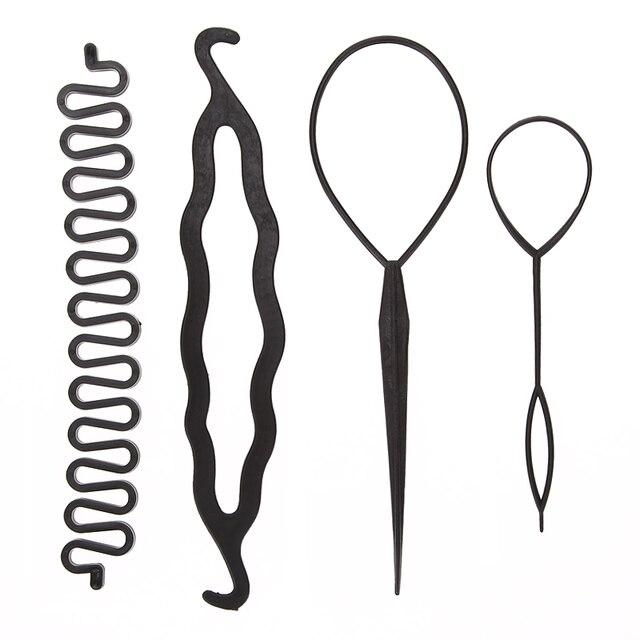 4 יח'\סט 3 סוגים קסם עיצוב שיער אביזרי סט קליעת שיער פין Bun רולר יצרנית שיער קולעת טוויסט Curler סטיילינג כלי