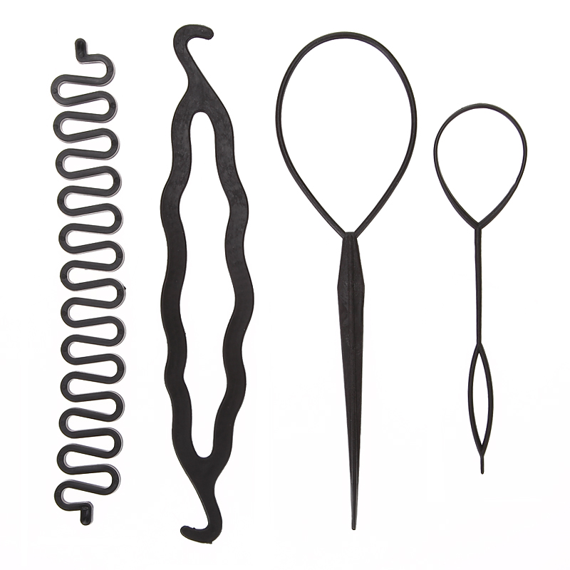 4pcs/set 3 Kinds Magic Hair Styling Accessories Set Braiders Hair Pin Bun Roller Maker Hair Braiding Twist Curler Styling Tool