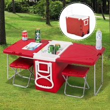 Goplus Multi Function Rolling Cooler Box Picnic Camping Outdoor Furniture Set Folding Garden Outdoor Table + 2 Chairs HW51118