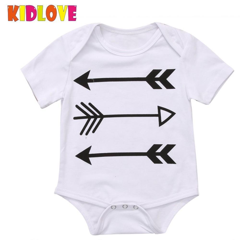 KIDLOVE Newborn Infant Baby Girls Jumpsuit Arrow Romper Short Sleeve Outfits Sunsuit Cotton Clothes Playsuit Outfits ZK30
