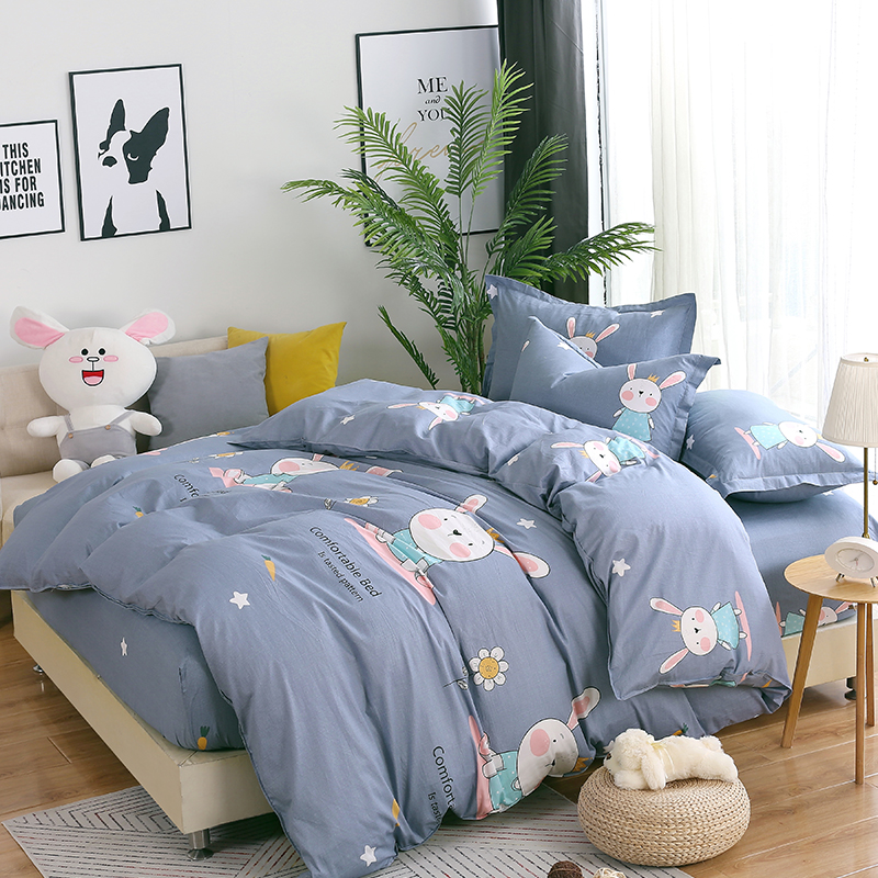 Lovely gray Little rabbit boys Bedding set for single/double bed fitted sheet+Duvet cover+pillowcase)4pcs home textie queen sizeLovely gray Little rabbit boys Bedding set for single/double bed fitted sheet+Duvet cover+pillowcase)4pcs home textie queen size