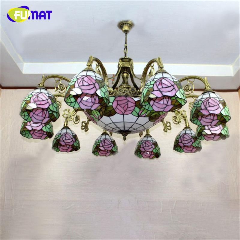 FUMAT Stained Glass Chandelier European Vintage Glass Suspension Light Bar Cafe Living Room Hanging Lamp Pendientes Lustre fumat clear glass pendant light with hemp rope vintage cafe bar suspension light fixture nordic living room dinning room lamp