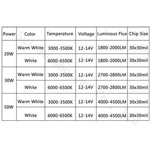 Image 4 - DC12V LED Floodlight 20W 30W 50W White Warm White LED Chip 20 30 50 W Watt  For LED Floodlight Spotlight Outdoor Lighting
