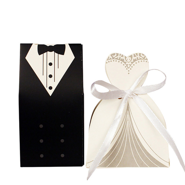 100 Pcs Classic Black White Candy Box Wedding Gifts For Guests Bride