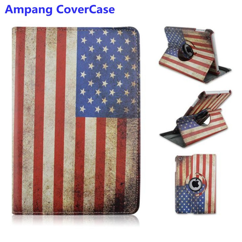 UK and USA Flag Cover for iPad 2 Case 360 Rotating PU Leather Cover for iPad 3 Cases Drop Resistance Protector for iPad 4 Case