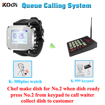 Order queue system with 1 keypad and 1 wrist , chef make dish , when dish ready , chef call waiter collect dish to custo