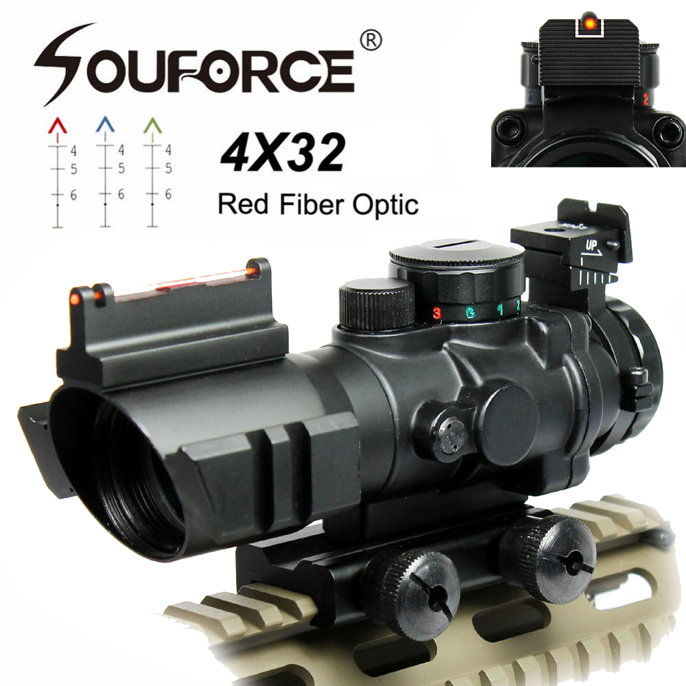 US 4X32 Rifle Scope With Red Fiber Optic Sight Tri-illuminated Ballistic Reticle Riflescope For Hunting Rifle And Air Gun
