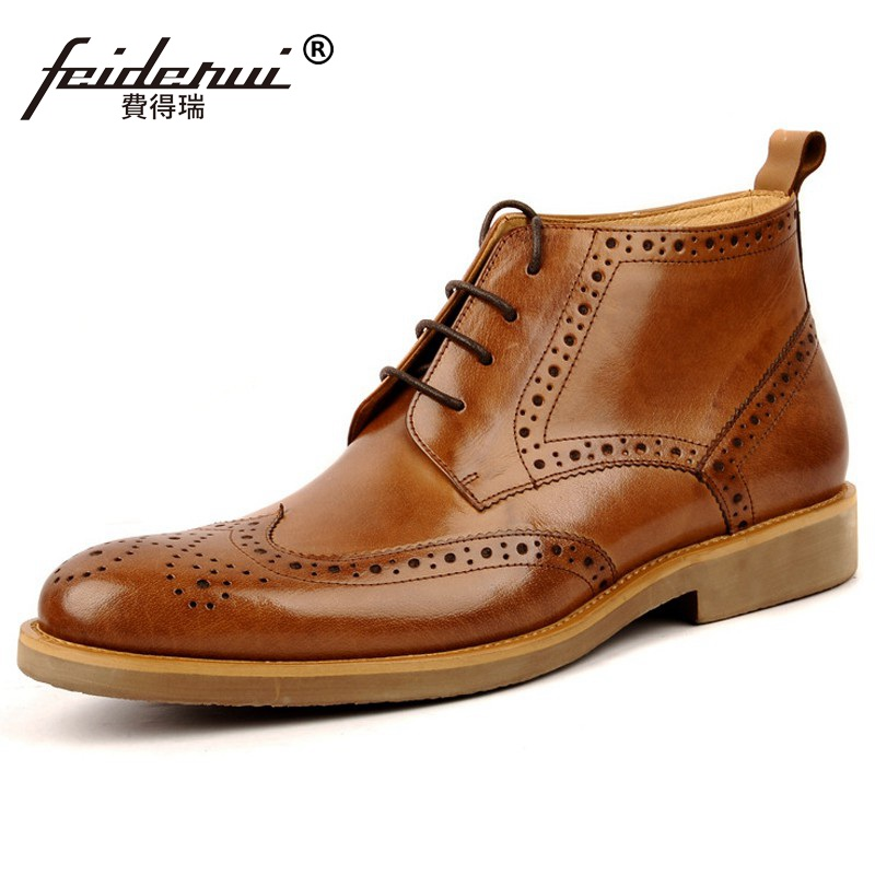 Luxury Brand Man High-Top Carved Brogue Oxford Shoes British Designer Genuine Leather Men's Martin Motorcycle Ankle Boots BD80 brogue boots two tone