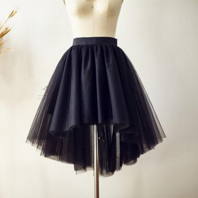 5e2348371 High Low Back Tulle Skirt Elastic Waistline Knee Length Asymmetrical Tutu  Skirt Custom Made Women Skirts