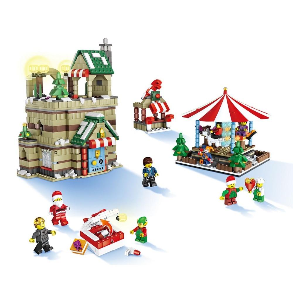 1595 pcs/ensemble JJRC 1003 Village De Noël Santa Claus En Bois Cheval Drôle blocs de construction Chiffres Meilleur Cadeau Education Présent Jouets