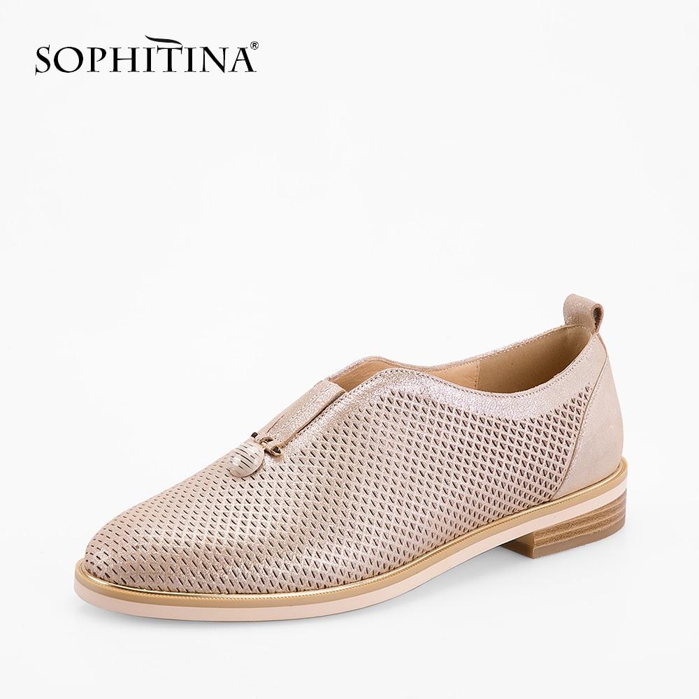 SOPHITINA Genuine Leather Women Flats Handmade Slip-on Shoe Golden Round Toe Mesh Leather Flat Leisure Soft Office Lady Shoe P70 roxy women s lido iii b slip on shoe flat