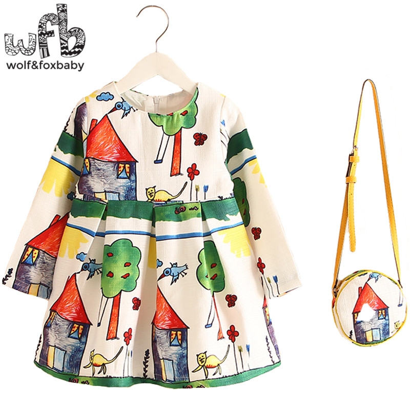 Retail 2-8years Dress+Bag/set New Cute Kids Baby Girl Summer Spring Fall Long-Sleeve Perfume Princess Flower Tree Country 2016 2 10yrs girls dress kids princess dress long sleeve baby girl cute palace style blue and white floral embroidery spring 2017 new