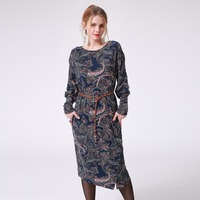 2017 Women Autumn Midi Print Dresses Long Sleeve Fashion Paisley Pattern Vintage Casual Party Dress Not