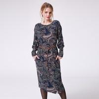 2017 Women Autumn Midi Print Dresses Long Sleeve Fashion Paisley Pattern Vintage Casual Party Dress Not