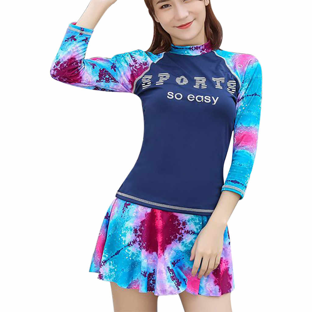 Chamsgend Wanita Lengan Panjang Tabir Surya Seksi Cetak Seaside Holiday Fashion Kasual Pelangsing Pakaian Renang Two-Piece Surfing Suit