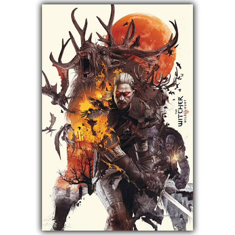 Geralt-The Witcher 3 Hunting Wild Game Hot Artistic Silk Fabric Poster Print 12x18 20X30 24x36inch  Home Decor