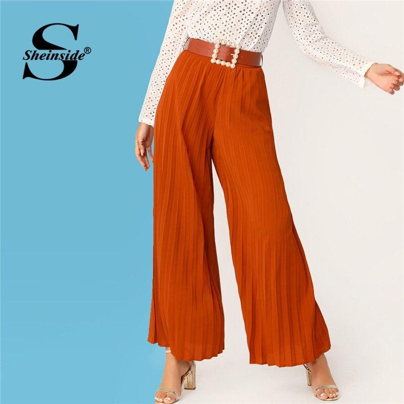 Sheinside Orange Pleated Wide Leg Pants Women 2019 Spring High Waist Long Trousers Ladies Solid Pearls Belted Pants