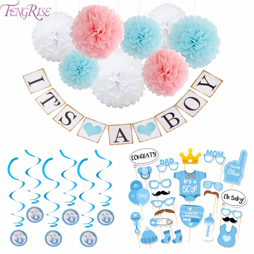 FENGRISE Baby Shower Decoration Newborn Its A Boy Girl Photo Booth Props 1st Birthday Blue Pink 1 Year Party Photobooth Supplies