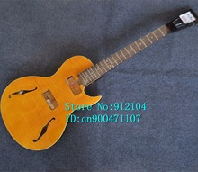 new music instrument hollow electric guitar in yellow with mahogany body and without hardware F-3054